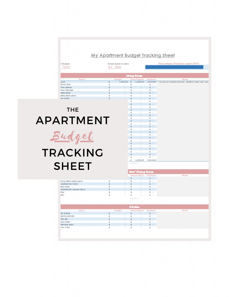 Free Moving Apartment Budget Tracking Sheet