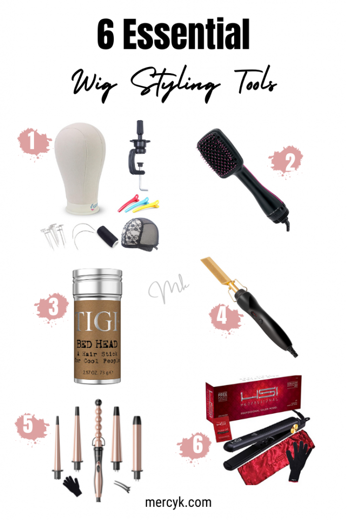 Pinterest post showcasing 6 essential wig styling tools