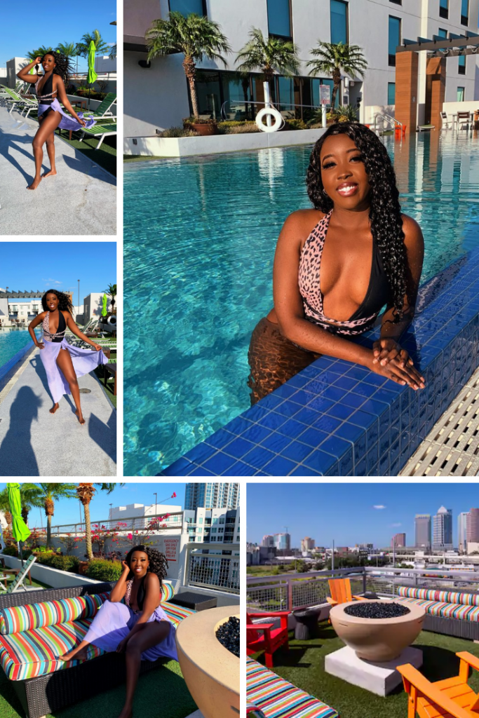 Black girl at Home2 Suites by Hilton Tampa Downtown Channel District pool area.